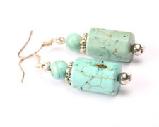 Silver 925 and Turquoise Cylinder Earrings, Vintage 1960s
