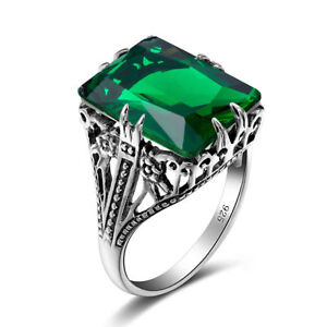 Vintage Square Green Emerald Solid 925 Sterling Silver Ring for Party Wedding