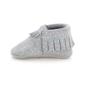 Freshly Picked Girls Confetti Dot Moccasin Grey Size 4