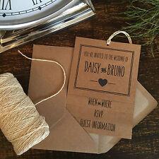 Navy Blue & Brown Kraft Handmade Wedding Invitations, Vintage Rustic Style