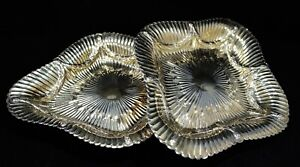 Victorian Style Sterling Gilt Silver Pair of Footed Dishes/Trays 19th Century