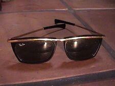 vintage baush & lomb ray ban olympian black matte gold tone large sunglasses