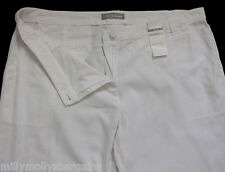 New Womens Marks & Spencer White Wide Leg Linen Trousers Size 10 Petite DEFECT
