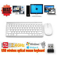 Wireless Keyboard and Mouse Cordless USB 2.4Ghz Silver PC Latptop Desktop TV BOX