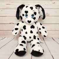 "Build a Bear 16"" Dalmatian Puppy Dog Black White Hearts Plush"