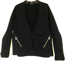 Xl St John Angora Wool Blend Black Sculptural Knit Jacket Shawl Collar Felt Zip