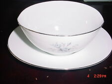 NORITAKE CIMARRON PATTERN #6308  FINE CHINA GRAVY BOAT WITH ATTACHED UNDER PLATE