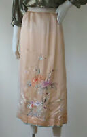 Vintage 1900s 1920s Hand Embroidered Silk Skirt w/ Linen Waistband SIZE: L