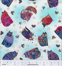 Fabulous Felines Laurel Burch CAT TOSS LIGHT AQUA Fabric OOP By the FQ - 1/4 YD