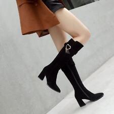 Ladies Pointy Toe Buckle Strap Block Heels Side Zip Metal Knee High Boots Shoes
