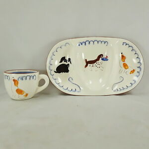 STANGL PLAYFUL PUPS KIDDIEWARE DIVIDED DISH AND CHILD'S CUP