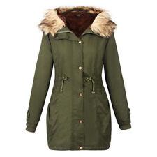 Ladies Women Fur Collar Hooded Winter Jacket Trench Parka Hoodies Coat Outwear