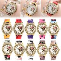 Women Flower Patterns Geneva Leather Band Analog Quartz Fashion Wrist Watches