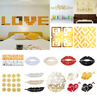 Removable Modern 3D Mirror Wall Sticker Home Room Decal Mural Art DIY Decor Art