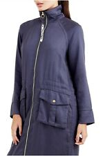 $299 Authentic Rare TRUE RELIGION Women's Biker Blue Stylish Trench Jacket