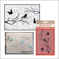 Snowy Scene with Birds embossing folder Nellie Snellen emboss folders EFE027