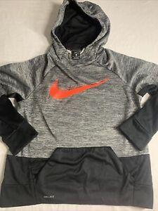 Nike Dri-Fit Hoodie Youth Small Black Gray Swoosh Long Sleeve Boys Shirt White
