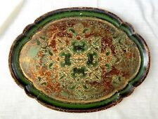 Vintage Hand Crafted Florentine Tole Painted Wood Tray, Green & Gold - Italy