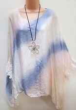 New Italian lagenlook Ladies Cream Silk Lacy Tunic Kaftan Top uk plus 20 22 24