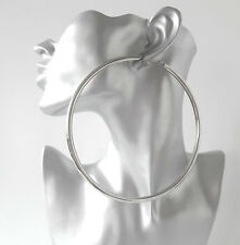 HUGE 12cm SILVER tone BIG plain CHUNKY hoop earrings LARGE - MASSIVE HOOPS! ***