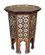 Handcrafted Egyptian Moroccan Mother of Pearl Inlay Wood Side Coffee Table