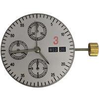 Asian Automatic Chronograph Watch Movement Compatible ETA VALJOUX 7750 Black 3H