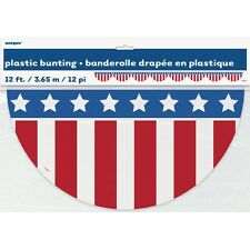Patriotic Plastic Red White Blue Bunting  12 Feet Election Decor CLOSEOUT