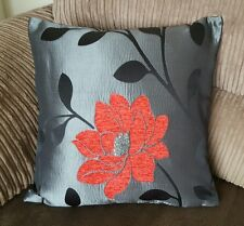 """4 18"""" x 18""""  Trendy Red, Black and Silver cushion covers."""
