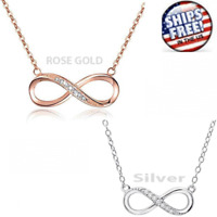 Infinity NECKLESS Love Charm Stainless Adjustable Chain Womens Crystal Jewelry