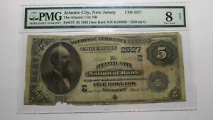 $5 1882 Atlantic City New Jersey NJ National Currency Bank Note Bill #2527 Date!