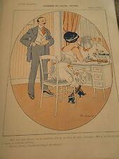 Causerie du Matin Potins devant sa glace maquillage Print Art Déco 1909