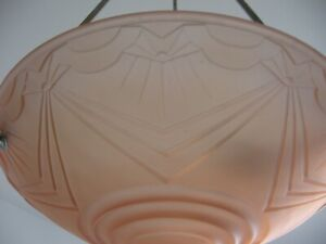 Art Deco Lampe Deckenlampe satiniertes Glas geometrische Muster Frankreich 1930