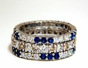 3.20ct stackable natural blue sapphires & fancy color diamonds rings stacking+