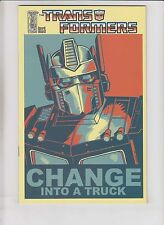 Transformers #1 VF/NM change into a truck 1:10 variant  obama campaign poster RI