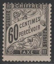 "FRANCE STAMP TIMBRE TAXE N° 21 "" TYPE DUVAL 60c NOIR "" NEUF x TB  K383"