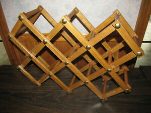 Vintage Oak Expanding Wooden Folding Wine 10 Bottle Rack MCM