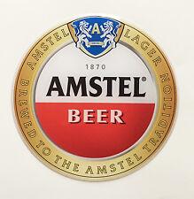 Amstel Beer (Dia 82mm) Domed Sticker/label. Round. 3D.