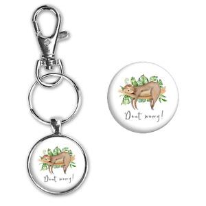 Sloth Life Love Silver Glass Pendant Key Chain Ring Carabiner Clip Bookbag New