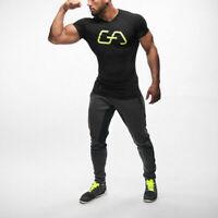 Men T-Shirt Fitness Custom Apparel Gym Sport T-Shirt Tight Fit Bodybuilding