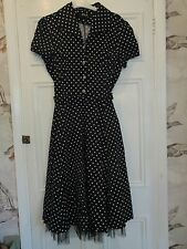 50's Rockabilly black and white polka dot swing dress hearts and roses size 14
