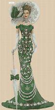 Elegante Dama en Verde Vestido Punto de Cruz Kit Completo #1-156e