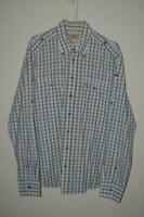 RETRO BLUE & CREAM CHECK CAMEL ACTIVE MODERN FIT L/S CASUAL SHIRT MENS UK LARGE