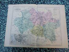 Carte géographique couleur 19°:   L'ALLIER avec plan de MOULINS