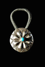 Sterling and Turquoise Repousse Concho Hair Tie - Navajo Handmade