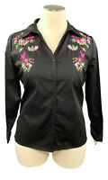 INC Int'l Concepts 0X black woven long sleeve button up shirt w/embroidery