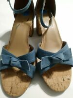 Aerosoles HeelRest Womens Denim Strappy Open Toe Heel Sandals Sz 7.5 EUC