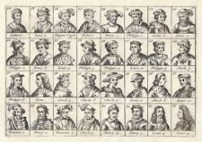 Antique engraving, No title. Kings of France. 32 portraits of..