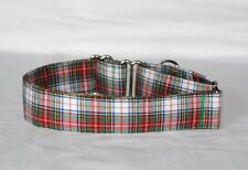 """1.5"""" Martingale Dog Collar Red, Green and White Plaid"""