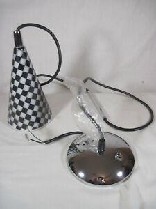 Portfolio Mini Cone Pendant Black & White Check Chrome Finish Light