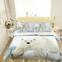 3D Polar Bear A121 Animal Bed Pillowcases Quilt Duvet Cover Set Queen King Zoe